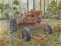 Old Tractor Watercolor Large