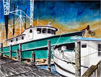 Shrimp Boats Painting As Poster