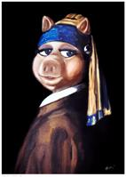 Piggy With A Pearl Earring - By Porkmeer