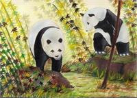 Cute Pandas As Greeting Card