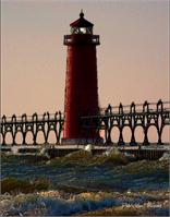 Oil Light House Beach As Greeting Card