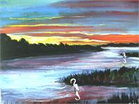 Shoreline At Sunset As Framed Poster