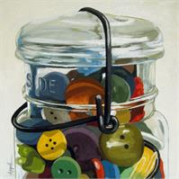 Old Button Jar - Realistic Still Life As Framed Poster