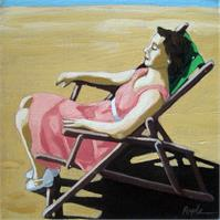 Summertime Snooze - Woman On Beach Oil Painting As Framed Poster