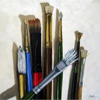 Artists Brushes Realistic Still Life