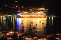 Cruise Ship And Harbor At Night Charlotte Amalie St Thomas Photograph By Roupen Baker