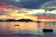Caribbean Island Harbor Sunset At Grand Case, St. Martin