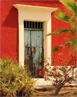 Old Green Door And Red Adobe