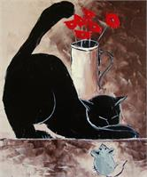 Black Cat With Mouse And Poppies
