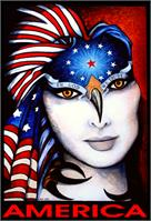 America Portrait of A Woman with Big White Face and Flag Over Head As Framed Poster