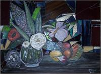 Mixed Media Floral With Stained Glass