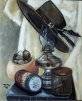 Still Life Of Hat And Items