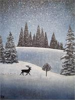 Snowscape With Deer