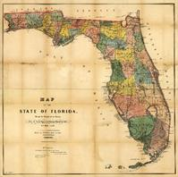 Map Of Florida (1856) As Framed Poster