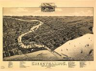 Aerial View Of Sheboygan, Wisconsin (1885)