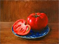 One & A Half Tomato On The Blue Dish