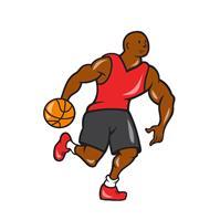 Basketball Player Dribbling Ball Cartoon As Framed Poster