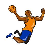 Basketball Player Dunking Ball Cartoon As Framed Poster