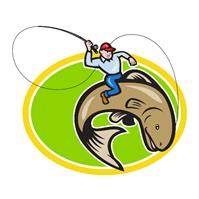 Fly Fisherman Riding Trout Fish Cartoon As Framed Poster