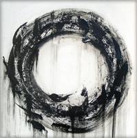 Large Black And White Contemporary Abstract Circle Painting As Framed Poster