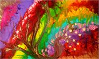 Colorful Abstract Painting Rainbow Colors