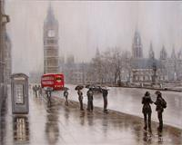 2013 50x40 Rainy London Oil Canvas
