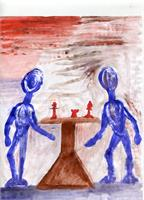 Chessplayers As Greeting Card