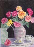Tea And Roses As Greeting Card