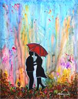 Couple On A Rainy Date Romantic Painting As Framed Poster