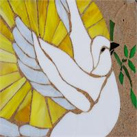 Stain Glass Peace Dove On Stone As Greeting Card