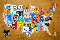 License Plate Map Of The USA On Vintage Burnt Orange Wood Slab