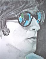 John Lennon In Colored Glass