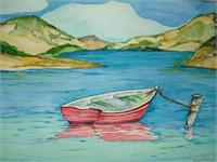Red Boat At Lake Berryessa