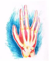 Mike S Hand Picture April 2014 Red Yellow Blue