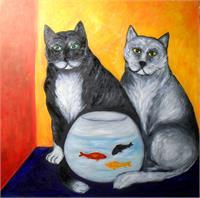 Gatos Con Pecera