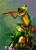 Flute Playing Frog