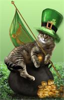 St Patrik's Day Cat Sitting On A Pot Of Gold