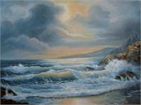 Seascape Under Stormy Skies