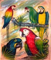 """Parrots of Paradise Size 21"""" X 25""""  ( 1990' ) Original"""