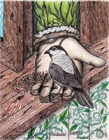 One With Nature Original Mixed Media Drawing