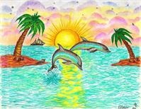Tropical Dolphins In Paradise As Poster