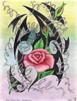 Pink Tribal Roses And Barbwire Original Drawing