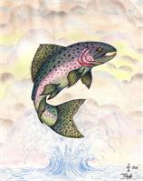 The Majestic Rainbow Trout Original Drawing As Greeting Card
