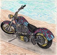 The Custom Roadster Motorcycle Original Drawing
