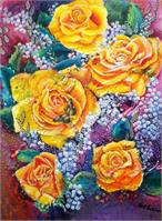Yellow Roses With A Textured Background