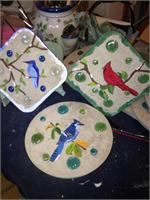 Assorted Birds Painted On Concrete Stone