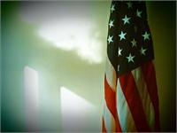 United States Flag With Window Light