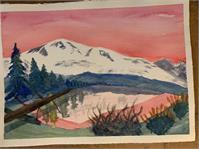 Pink Sky Mountain Watercolor