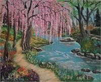 Pink Weeping Willow With River, Rocks And Path
