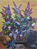 Basket Of Flowers Purple, And Blue